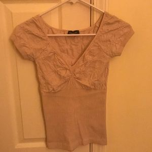 Bebe- Beige/ Light tan blouse/ top-Small